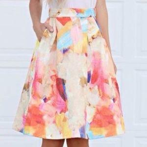 H&M Jacquard Floral Midi Skirt